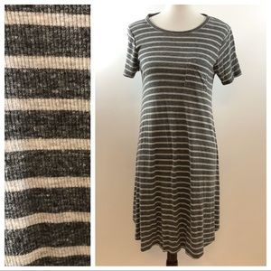Lularoe Carly Gray Striped Dress XXS